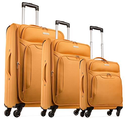 TravelCross Barcelona Luggage 3 Piece Lightweight Expandable Spinner Set - Orange