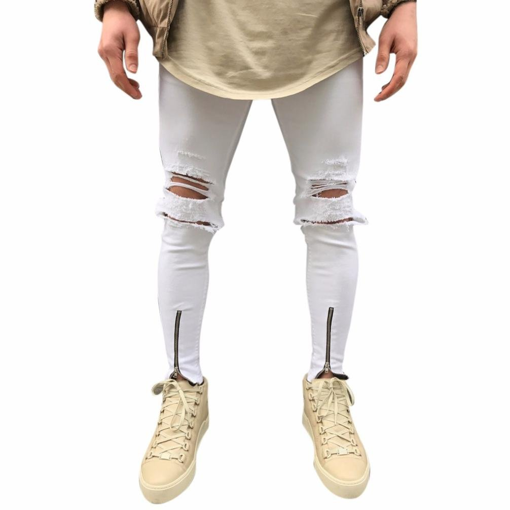 Realdo Mens Skinny Zipper Ankle Jeans, Solid Cotton Denim Slim Hole Pants(White,31)