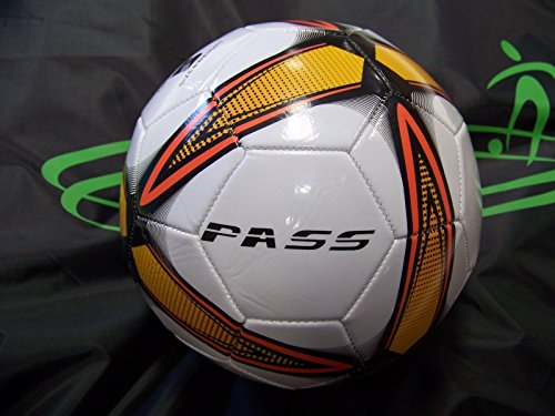 50 CT - Size 5, 32 Panel Machine Sewn Soccer Balls. Official Sizes & Weight. COMES WITH FREE 6'' PUMP! (Orange & Black) by Pass