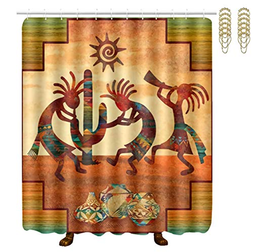 Tidyki Shower Curtain Bath Curtain Set Bathtub Decoration Waterproof Thick Polyester Fabric Rust Proof Grommets Bathroom Accessory Southwest Native American Kokopelli with Hooks Sets