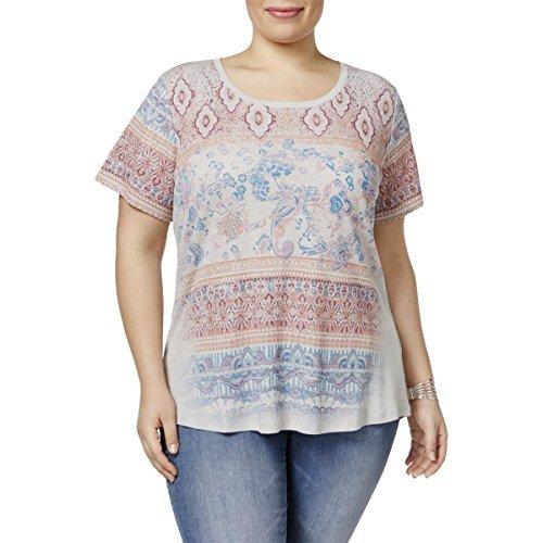 Style & Co. Womens Plus Printed Slub Casual Top Gray 2X