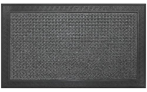 Gray and Black Doormat by Castle Mats, Size 17 x 29 inches, Non-Slip, Durable