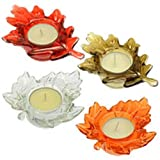 Fall Harvest Leaf Glass Tealight Candle Holders Set of 4 Thanksgiving