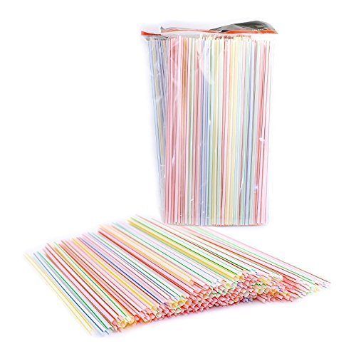 Chef Craft 21099-3PK-X Pack of 450 Disposable Plastic Straight Straws, Assorted Colors, Striped 9