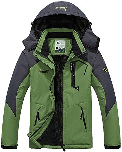 MAGCOMSEN Men Outdoor Jacket Waterproof Jacket Fleece Snowboarding Jacket Hiking Camping Jacket Fishing Hunting Coat Breathable Skiing Jacket Olive Green ()