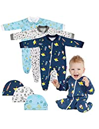 Lictin 6pcs 100% Cotton Baby Long-Sleeved Romper Zipper Pajamas with Hat(3-6M)