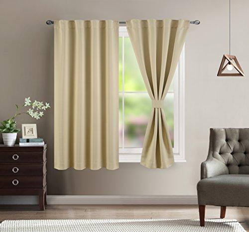 Bedroom Blackout Draperies and Window Treatment- Beige, 38 W