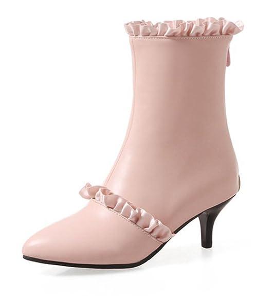 SHOWHOW Damen Spitze Kitten Heels Kurzschaft Stiefel Stiefelette Weiß 36 EU 91VPDX