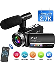 Camcorder 2.7K Video Camera Full HD 30MP Vlogging Camera with Microphone Remote Control Camcorder Rotatable Touch Screen and Webcam Function