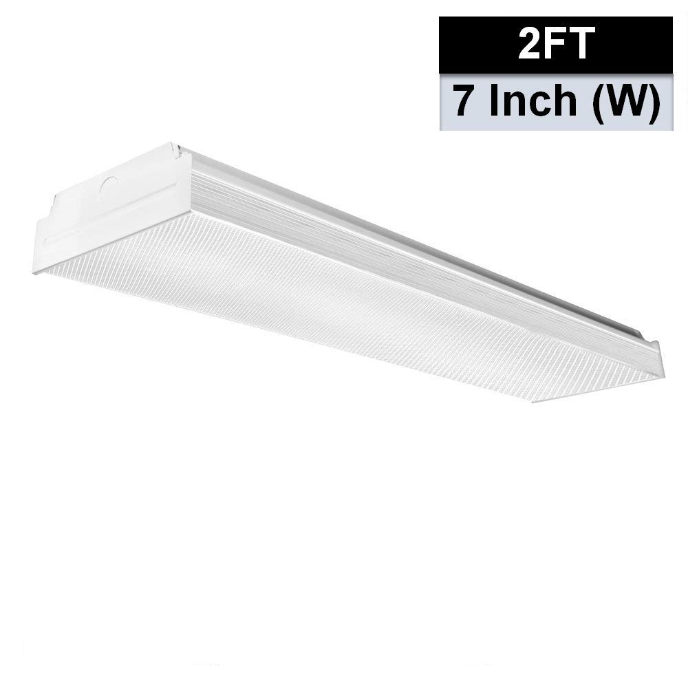 AntLux 2FT LED Wraparound Flushmount LED Garage Lights - 20W 2400LM - 4000K Neutral White - Integrated Low Profile Commercial Linear Ceiling Lighting Fixture