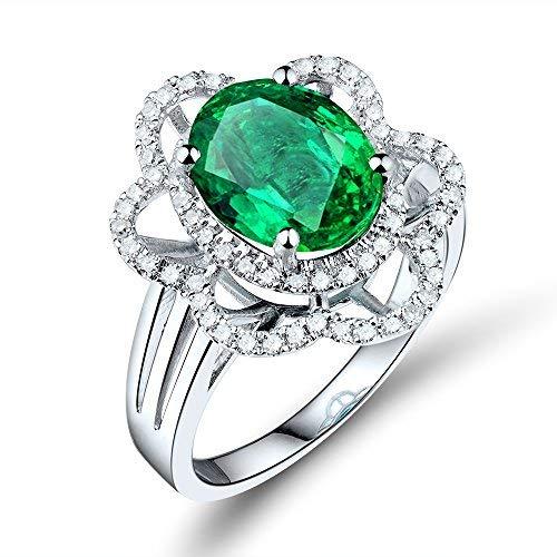 - Beyond jewelry Beautiful Diamond Emerald Gemstone Solid White Gold 14K Engagement Wedding Ring