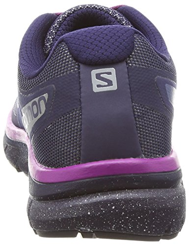 Salomon Women's Sonic Nocturne W Low Rise Hiking Boots, Berry, 9.5 Blue (Evening Blue/Reflective Silver/Grap 495)