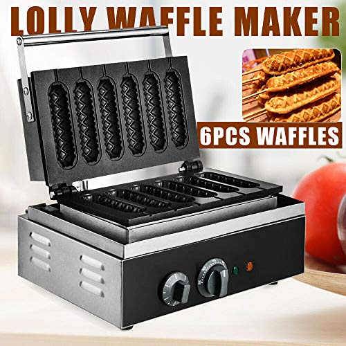 Hot Dog Waffle Maker,6PCS commercial Non-stick Lolly Hotdog molds stainless steel Crispy Baking Corn Dog Sausage Waffles Machine Electric Muffin 110V 1500W