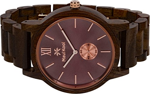 Wooden Watch For Men Maui Kool Kaanapali Collection Analog Large Face Wood Watch Bamboo Gift Box (C3 - Coffee Face) by Maui Kool (Image #3)
