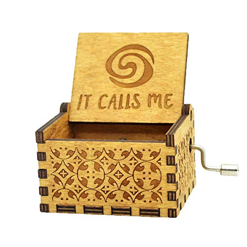 Sooye Moana Music Box- Upgraded Version 18 Note Antique Carved Hand Crank Music Box (How far I'll Go) by Sooye