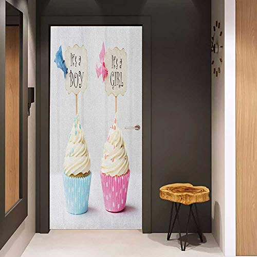 Onefzc Photo Wall Decal Gender Reveal Boy and Girl with Cupcakes Yummy Chocolate Celebration Theme for Home Decor W32 x H80 Pale Blue and Pink Cream]()