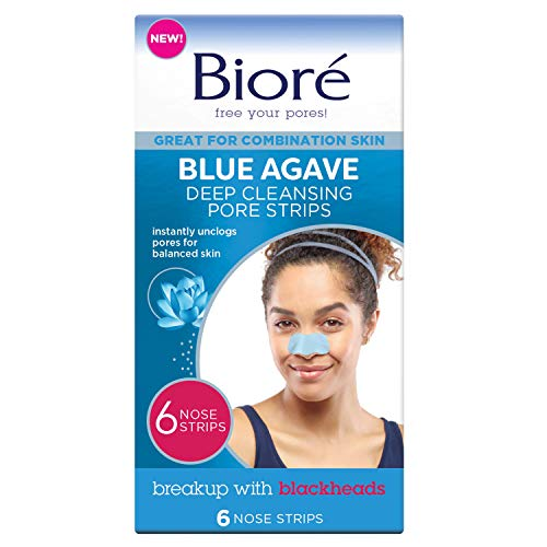 Bioré Blue Agave Pore Strips 6Count for Nose & Combination Skin (cruelty free, vegan), 6Count