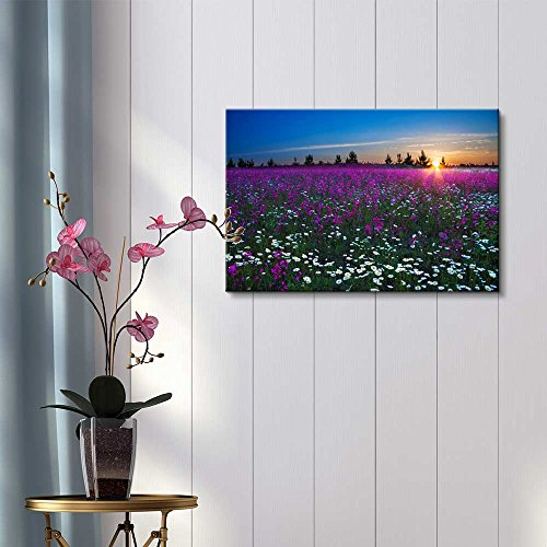 Sunrise Over a Blossoming Field with Colorful Flowers Wall Decor