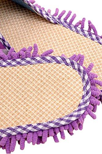 Gosear-1par Zapatos de Zapatillas de Chenille ultrafino con Función de polvo mopa de Limpieza para Interior de Casa(Marrón) Morado