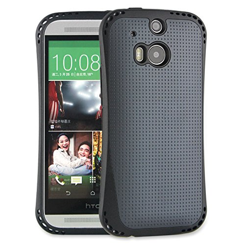HTC One M8 Case Grey Hybrid Dual Layer Tough Protective Case (Polycarbonate + TPU) for the All New HTC One / HTC One M8 / HTC One 2 / HTC One 2014: Black Rhino (Grey Color)