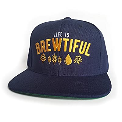 10oz apparel Life is brewtiful Navy Snapback Beer Cap. Perfect gift for Beer Lovers