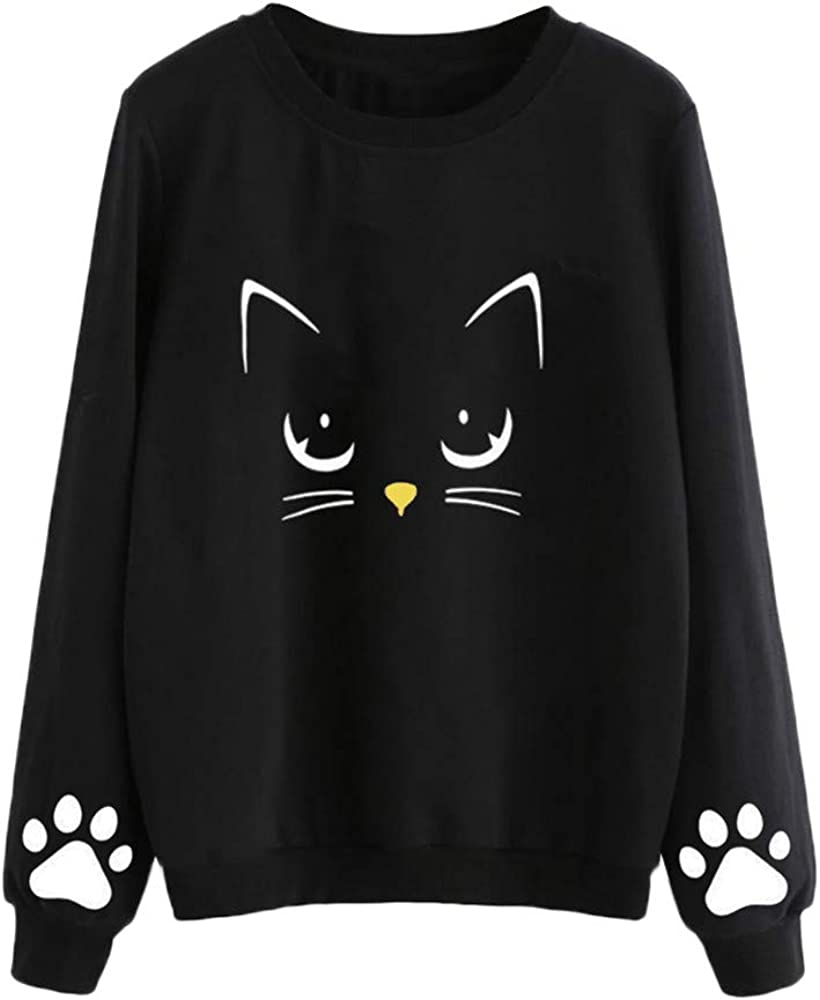 Blouses for Women Fashion 2018,Womens Clothing,Women Autumn and Winter Cat Weater Round Neck Long Sleeve Regular Blouse 3XL,Black,3XL