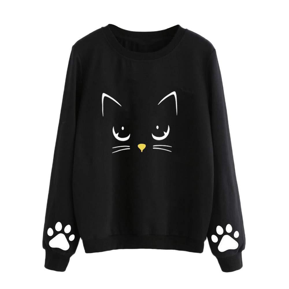 Otoño Sudadera para Mujer Gato Bordado Camiseta de Manga Larga Moda Skinsuits Hooded Blusa Hooded Casuales Capa Tops Jersey ❤Btruely Herren