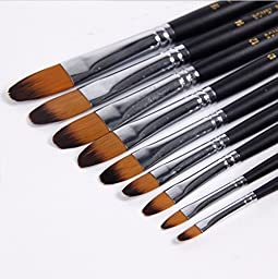 Paint Brush Lot 9pcs/Set Painting Brush Oil Paint Nylon Water Color Painting Brush Acrylics Art for Supplies Stationery
