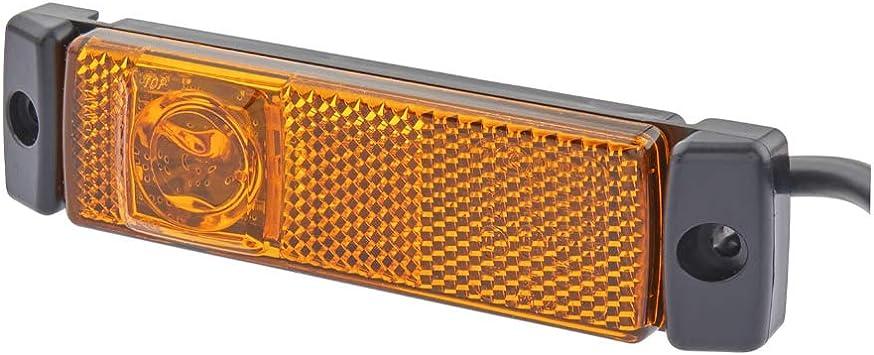 Hella 2ps 008 645 621 Seitenmarkierungsleuchte Led 24v Lichtscheibenfarbe Gelb Led Lichtfarbe Gelb Anbau Kabel 1300mm Stecker Quick Link 2 Polig Einbauort Links Rechts Auto