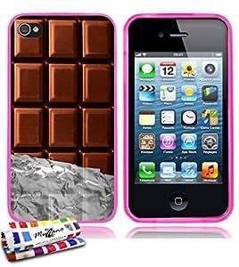 Carcasa Flexible Ultra-Slim APPLE IPHONE 4 de exclusivo motivo [Chocolate] [Rosa] de MUZZANO  + ESTILETE y PAÑO MUZZANO REGALADOS - La Protección Antigolpes ULTIMA, ELEGANTE Y DURADERA para su APPLE IPHONE 4