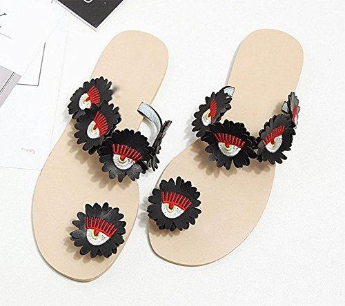 de ranurada de sandalias sandalias punta zapatos Flores zapatillas planas mujer y salvaje Black 6aB0qnOw