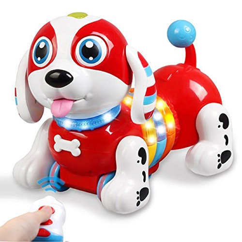 dress jumpers DraWaoy Remote Control Robot Dog, Wireless Smart Interactive Sausage Machine Dog Sing Dancing Walking Electronic Puppy for Kids,Boys and Girls(Red)