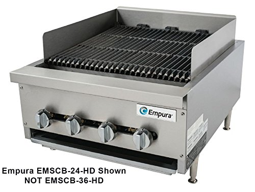 Empura EMSCB36-HD Heavy Duty Stainless Steel 36'' Countertop Charbroiler Gas with 6 Manual Controls Burners, 120,000 BTU by Empura