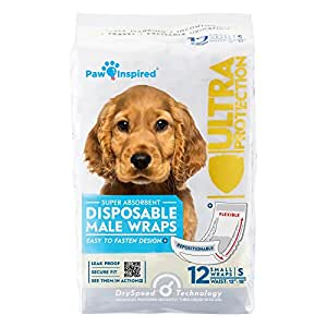 Paw Inspired Ultra Protection Disposable Male Wraps Bulk, Small