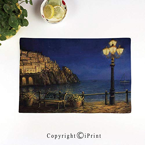 Bar Amalfi Table Outdoor (LIFEDZYLJH Everyday Place mat for Dinner Parties,Summer Outdoor Picnics,Set of 4,Machine Washable,Starry and Romantic Evening at The Coast of Amalfi in Italy Oil Painting Style,Navy Blue Brown)