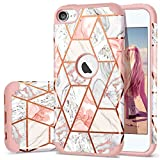 Image of iPod 6 Case, iPod 5 Case, Fingic Rose Gold Marble Design Shiny Glitter Bumper Hybrid Hard PC Soft Rubber Anti-Scratch Shockproof Protective Case Cover for Apple iPod Touch 5/6th Generation, Rose Gold