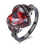 BEMI Romantic Black Gold Red Heart AAA Zircon Band Promise Ring Valentine Gift Statement Rings for Womens 8