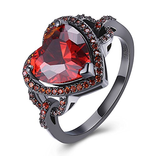 BEMI Romantic Black Gold Red Heart AAA Zircon Band Promise Ring Valentine Gift Statement Rings for Womens 8 by BEMI