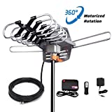 digital antenna 150 mile range - SKYTV Amplified TV Antenna 150 Mile Long Range Reception HDTV Antenna for Outdoor&Indoor With 360° Rotation -Wireless Remote - 33FT Coaxial Cable for FM/VHF/UHF Channels(without pole),4K ready