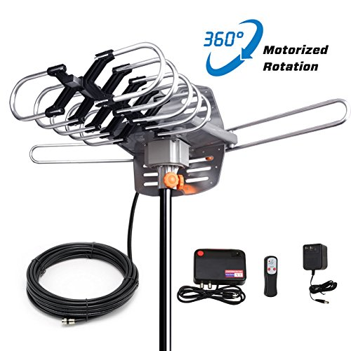 SKYTV Amplified TV Antenna 150 Mile Long Range Reception HDTV Antenna for Outdoor&Indoor With 360° Rotation -Wireless Remote - 33FT Coaxial Cable for FM/VHF/UHF Channels(without pole),4K ready