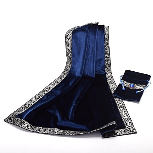 Hao Run New Altar Tarot Cards Bag Table Cloth Tablecloth Divination Wicca Velvet Tapestry (Blue)