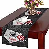 InterestPrint Aces Playing Poker Cards and Casino Poker Chips on Black Damask Table Runner Cotton Linen Home Decor for Wedding Party Banquet Decoration 16 x 72 Inches