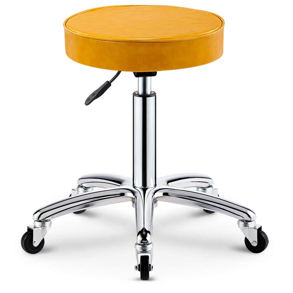 YELLOW Round Swivel Rolling Stool with Wheels Adjustable Work Drafting SPA Bar Medical Salon Stools(Black),blueE2