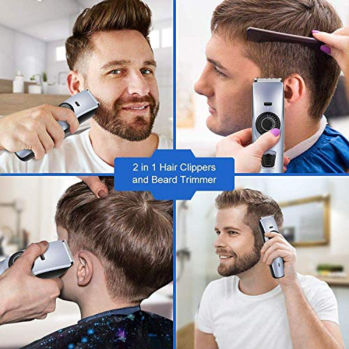 Beard Trimmer Hair Clipper for Men, WizPower Hair Trimmer Mustache Trimmer Cordless Hair Cutting Groomer kit With 2 Combs Hair Precision Trimmer USB Rechargeable