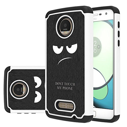 Moto Z Play Droid Case,LEEGU [Shock Absorption] Dual Layer Heavy Duty Protective Silicone Plastic Cover Case for Motorola Moto Z Play Droid - Dont Touch My Phone