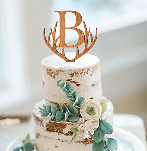 monogram cake topper personalized wedding cake topper rustic wooden heart cake topper single