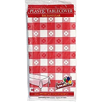 Cheap Dazzling Toys 6 Pcs Party Vinyl Tablecloth Red White Checkered  Gingham Print   Size 108
