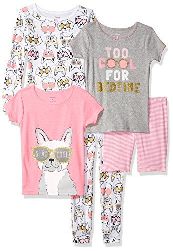 Dog Carters Pajamas - Carter's Girls' Little 5-Piece Cotton Snug-Fit Pajamas, Dog Glasses, 8