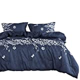 California King Duvet Cover Wake In Cloud - Navy Blue Duvet Cover Set, Gray Grey Floral Flowers Tree Leaves Pattern Printed, Soft Microfiber Bedding with Zipper Closure (3pcs, California King Size)