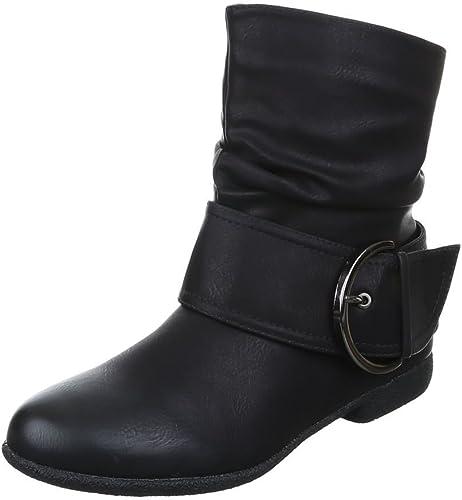 Damen Stiefeletten Western Stiefel Cowboy Boots Flache